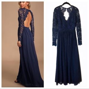 Lulus awaken my love lace long sleeve maxi dress